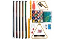 Biljarski set - štapovi, zidni nosač, prekrivač, trokut, četke i ostalo